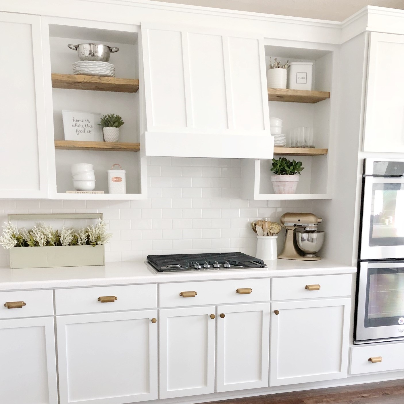 DIY kitchen vent hood and cabinet molding - The Blooming Nest